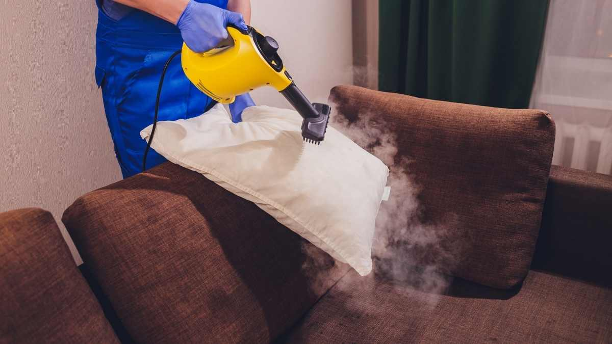 using a steam cleaner of a cushion